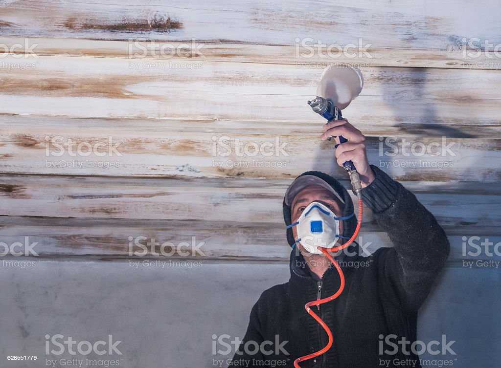 Painter at work stock photo
