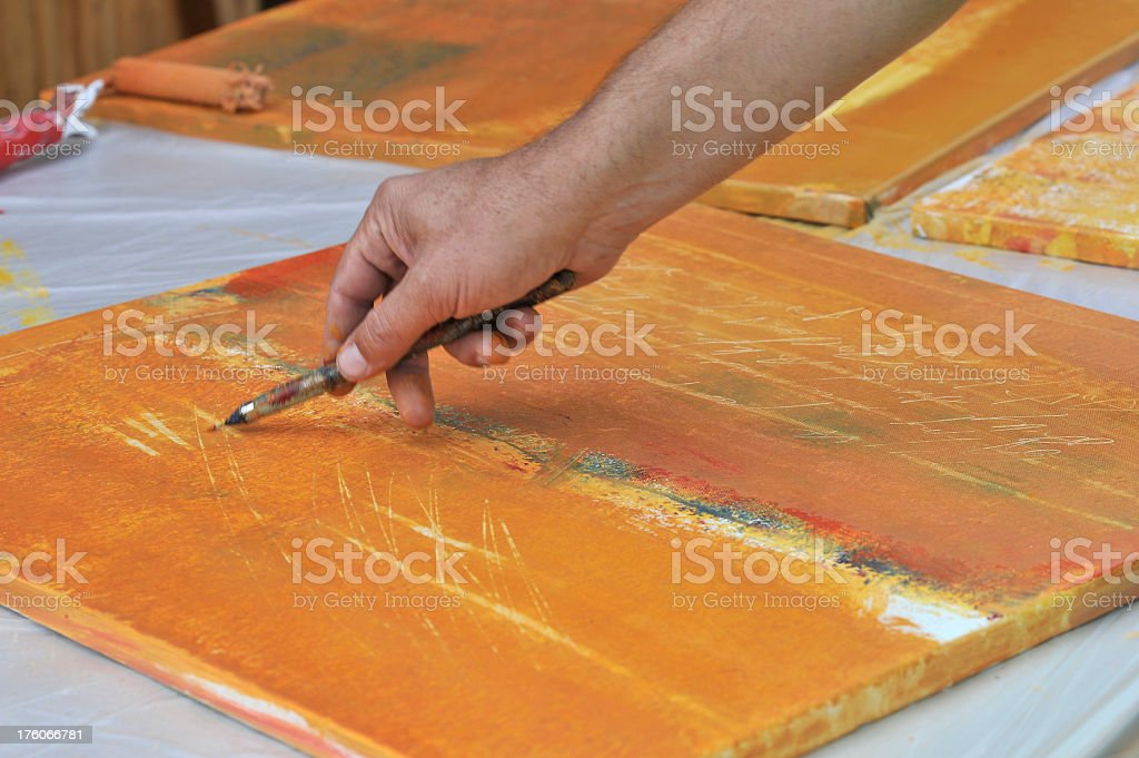 Painter hand, Painting a picture royalty-free stock photo