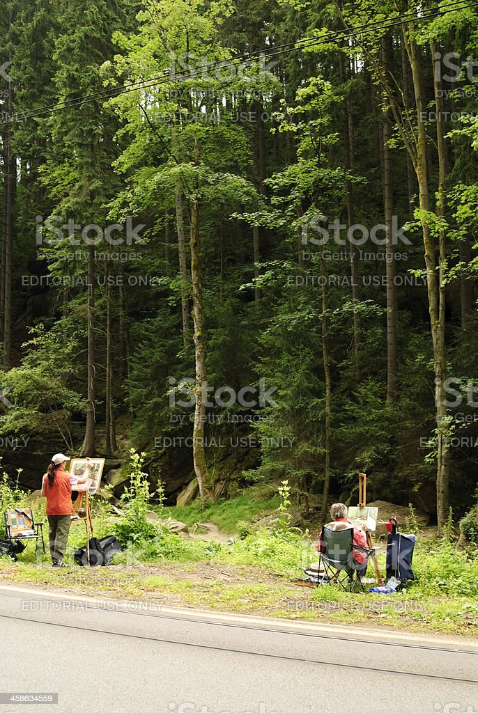 Painter in the nature royalty-free stock photo