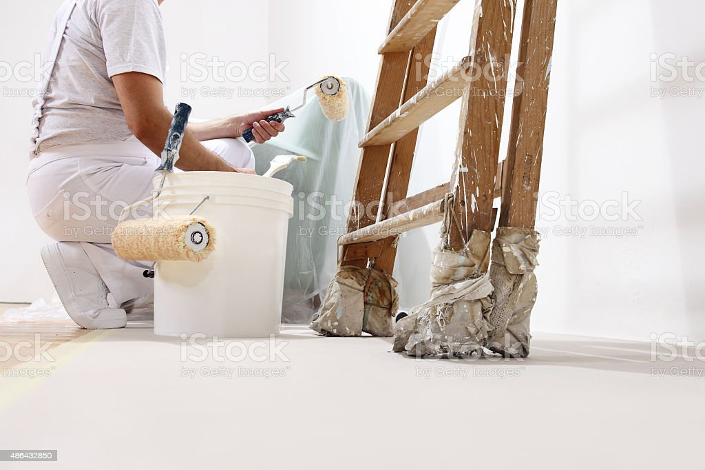 painter man at work with a roller, bucket and ladder stock photo