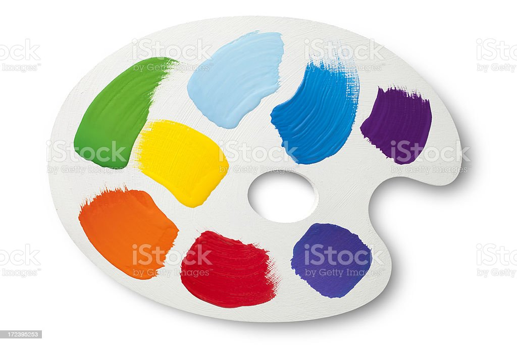 Painter palette with colors stock photo