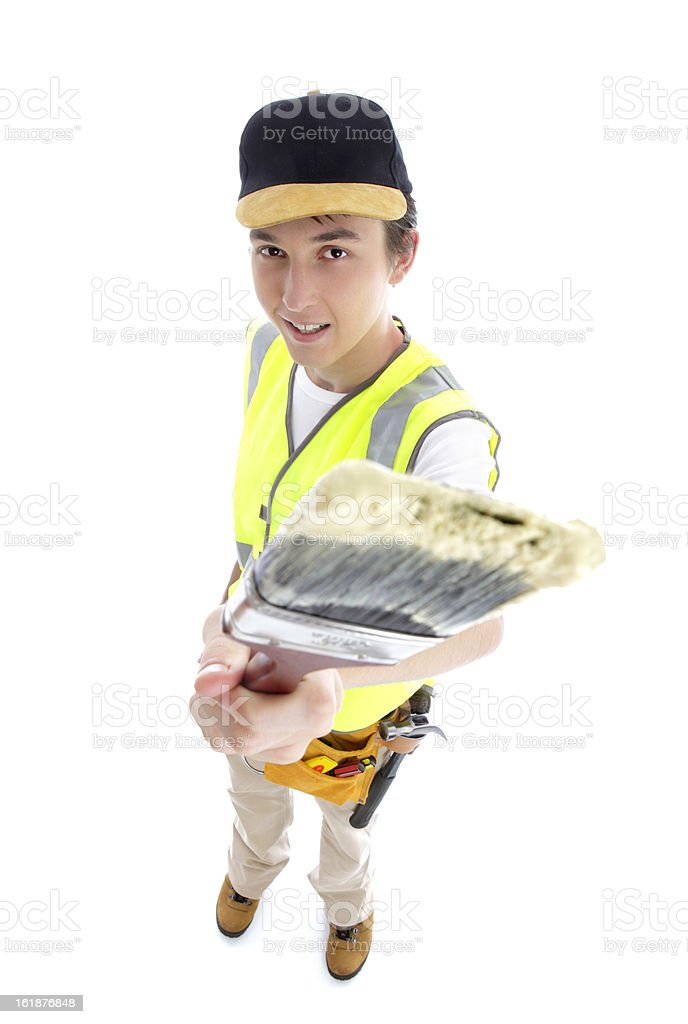 Painter with paint brush royalty-free stock photo