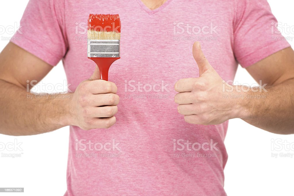 Painter with paintbrush stock photo
