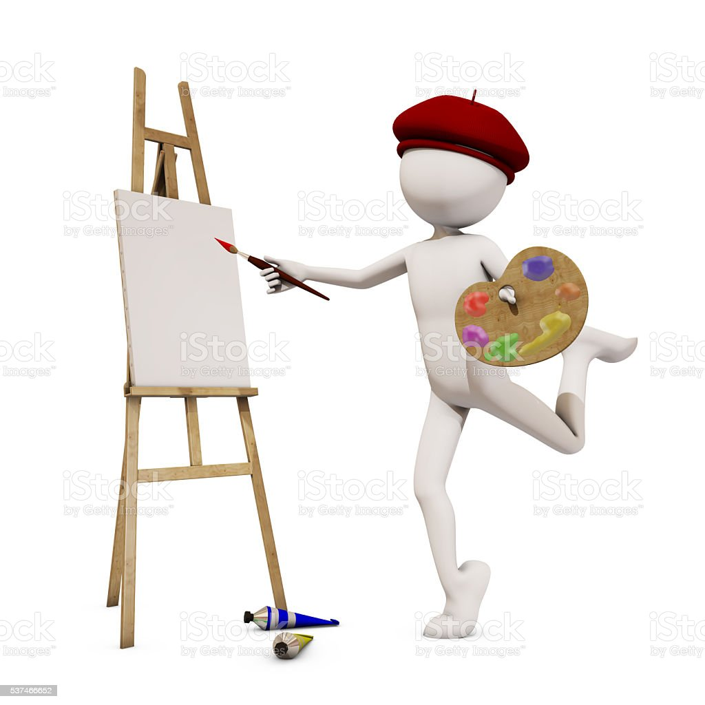 painter with white background, 3d rendering stock photo