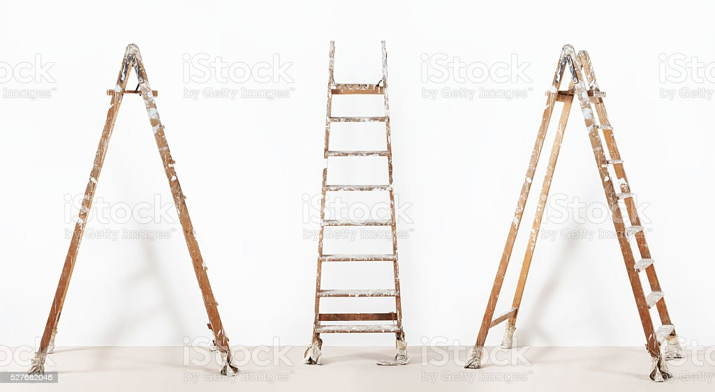 painter wooden ladder,isolated on white, wall painting concept stock photo