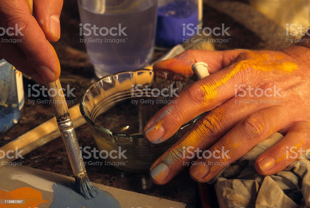 Painter working royalty-free stock photo