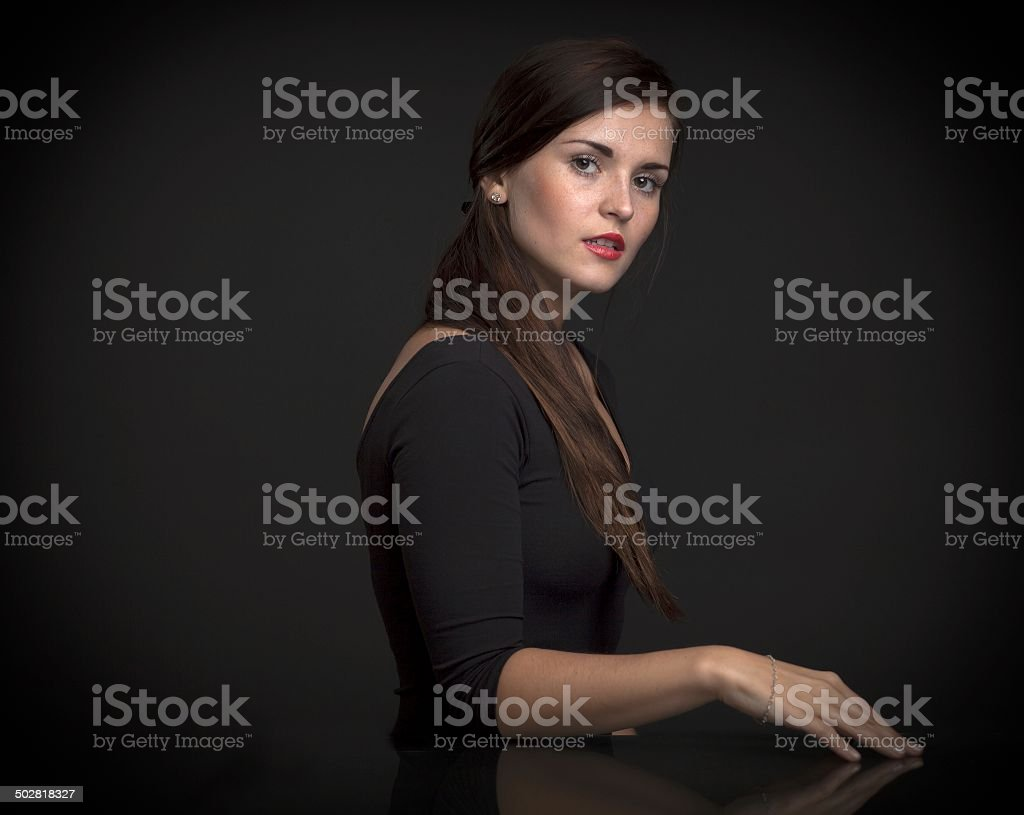 Painterly portrait of a beautiful woman royalty-free stock photo