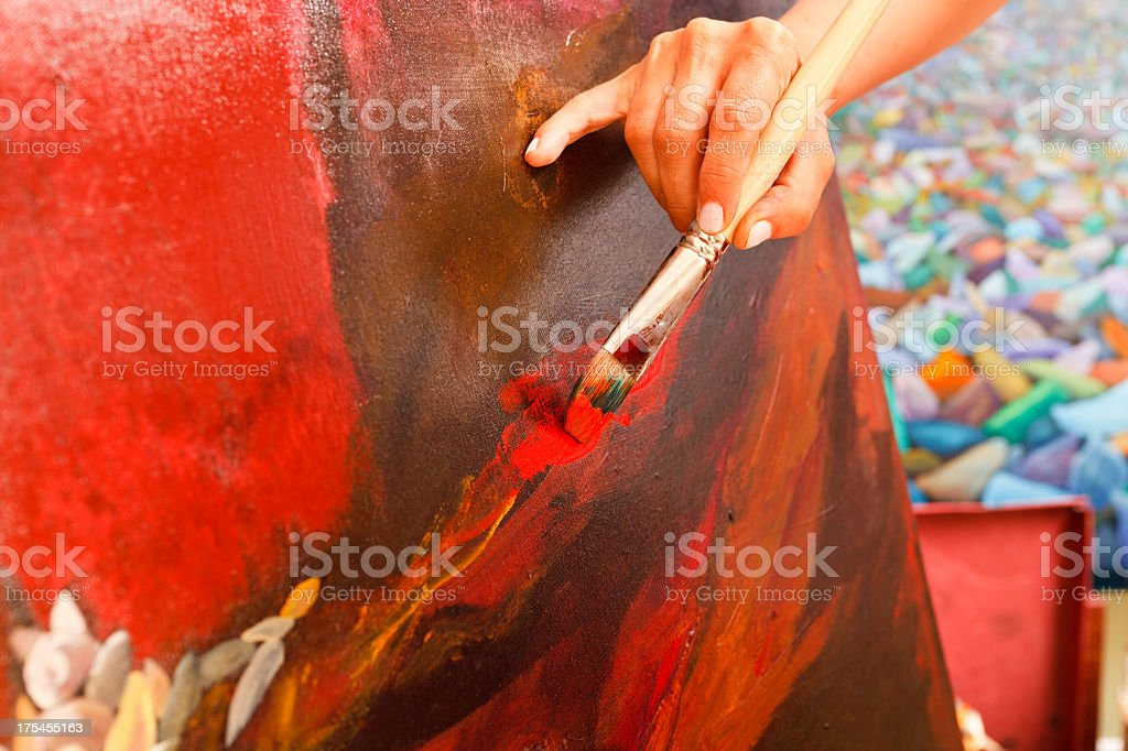 Painter's hand on Canvas royalty-free stock photo