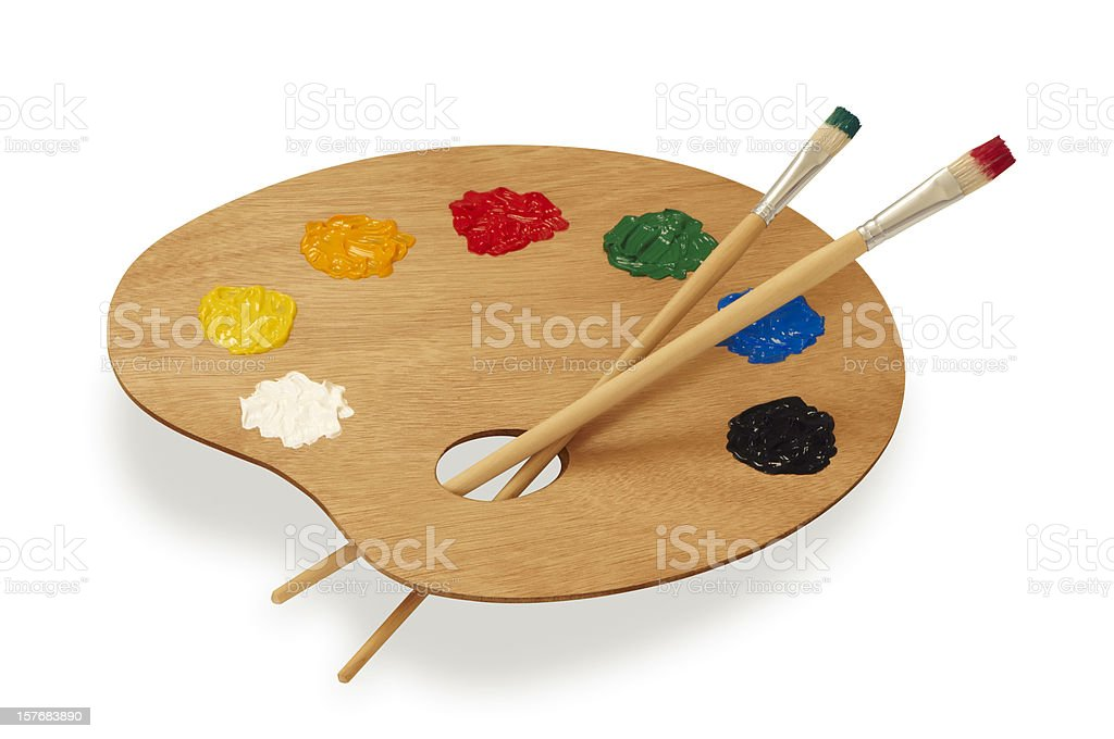 Painter's multicolored palette isolated on white stock photo