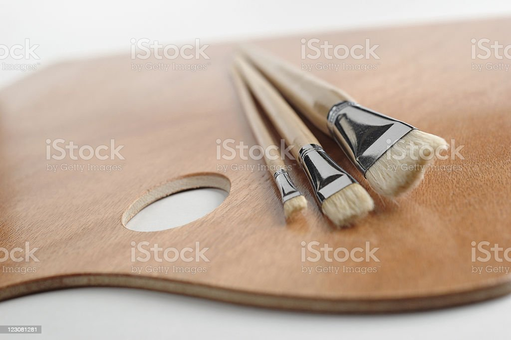 Painter's Palette and Brushes stock photo