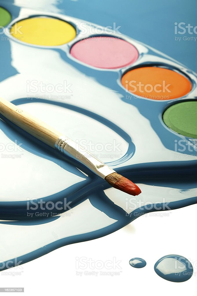 painter's palette dipped in paint blob(w/clipping path) royalty-free stock photo