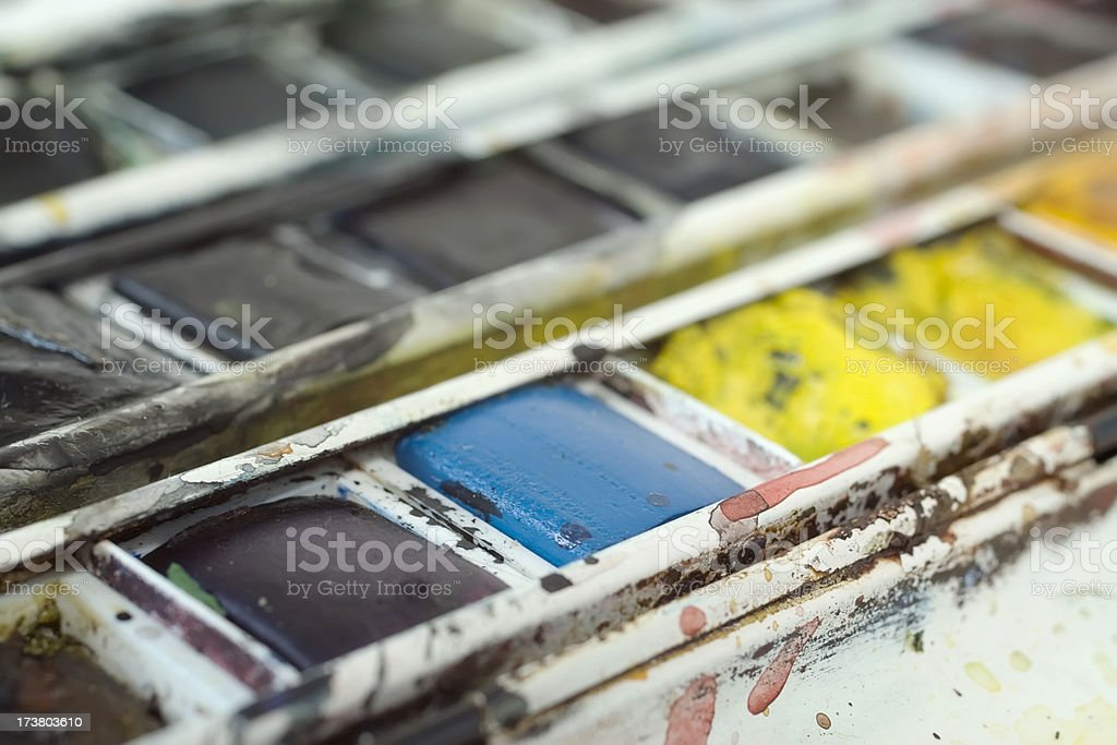 Painter's pallet and brush. royalty-free stock photo
