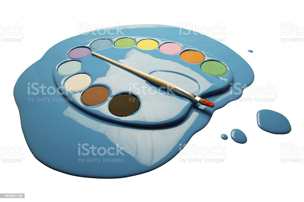 painter's pallet dipped in paint blob(w/clipping path) royalty-free stock photo