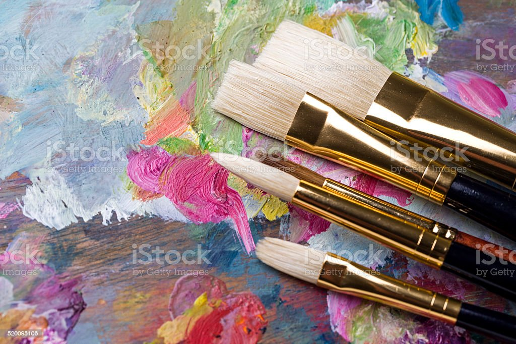 Painter's tools and palette stock photo