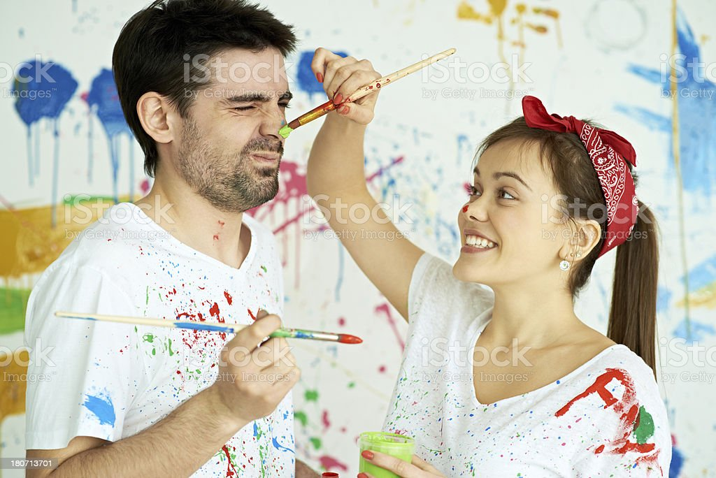 Painters with brushes royalty-free stock photo
