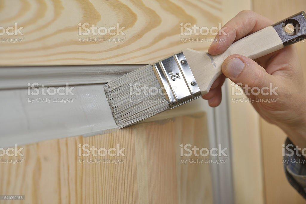 Painting a door stock photo