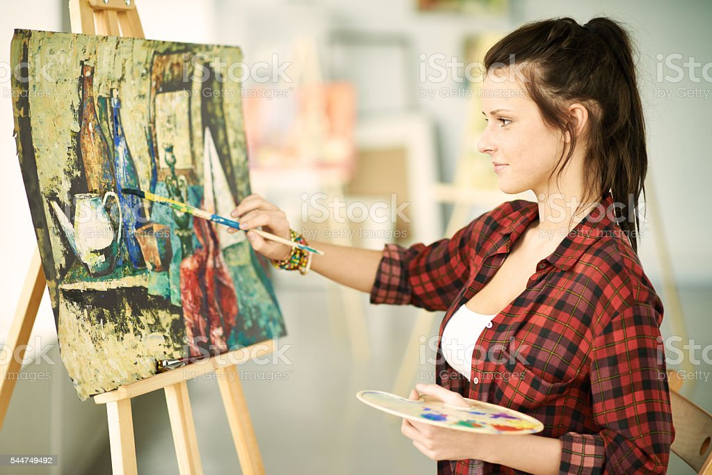 Painting a picture stock photo