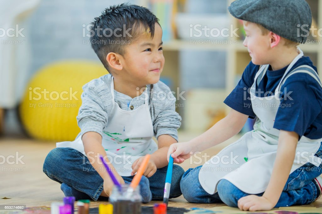 Painting a Picture Together stock photo