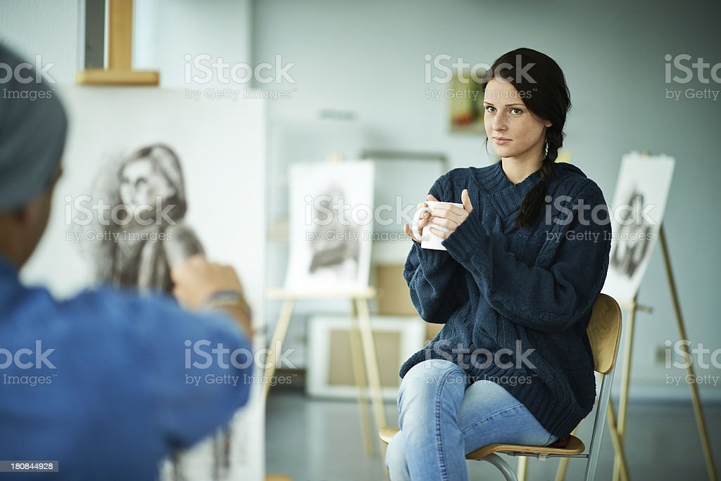Painting a portrait royalty-free stock photo