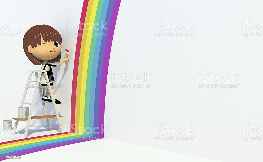 Painting a rainbow color royalty-free stock photo
