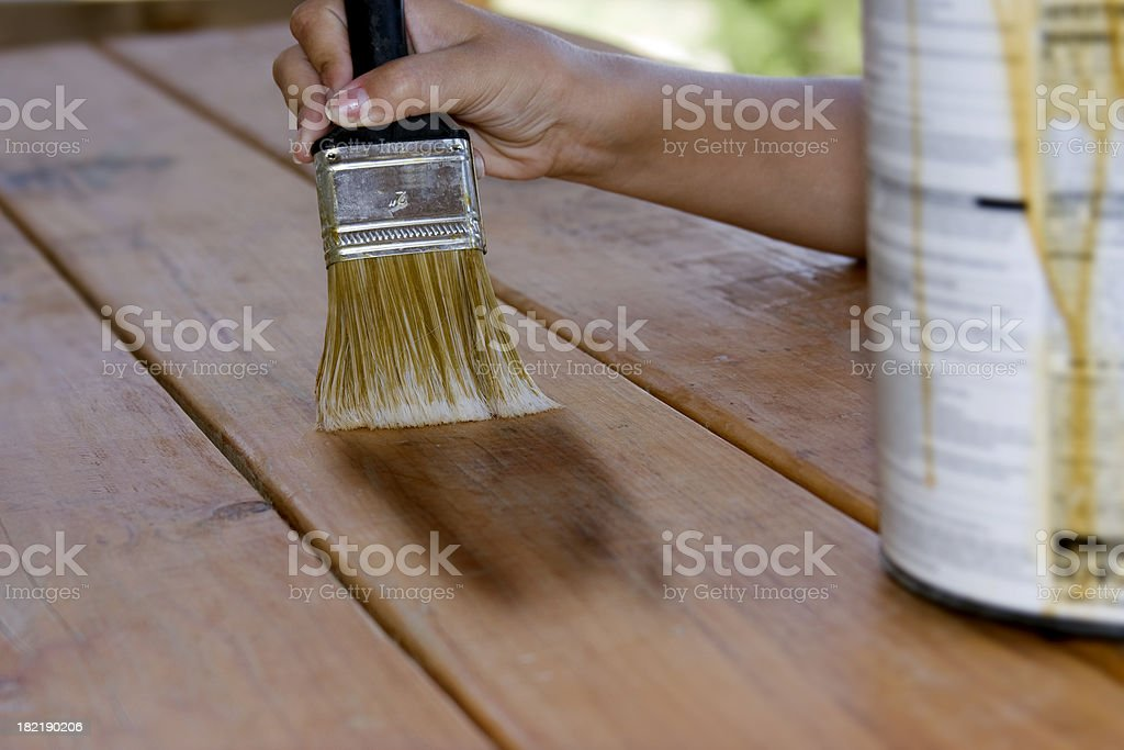 Painting a table stock photo