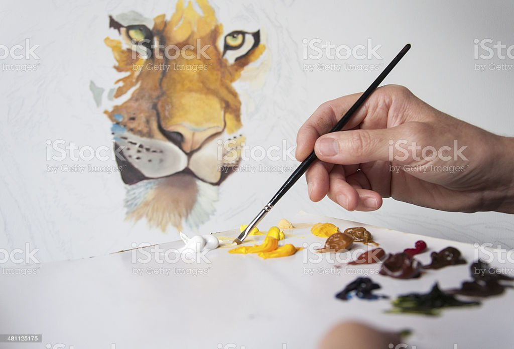 Painting a Tiger royalty-free stock photo