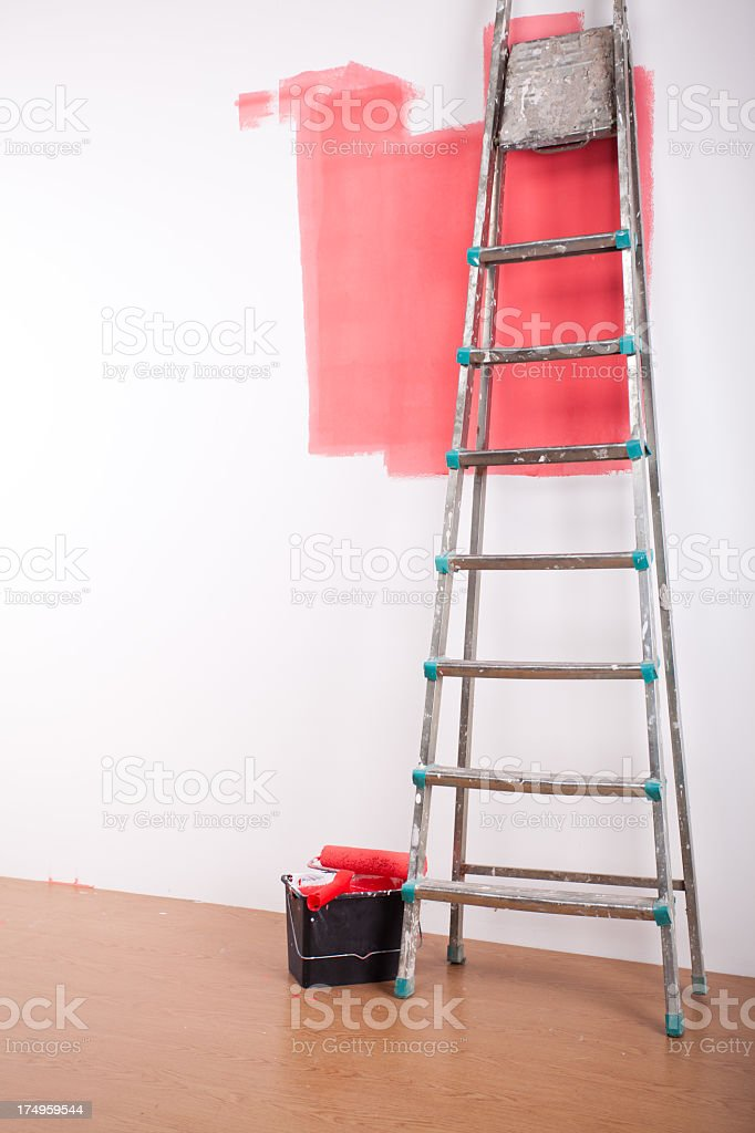 Painting a wall royalty-free stock photo