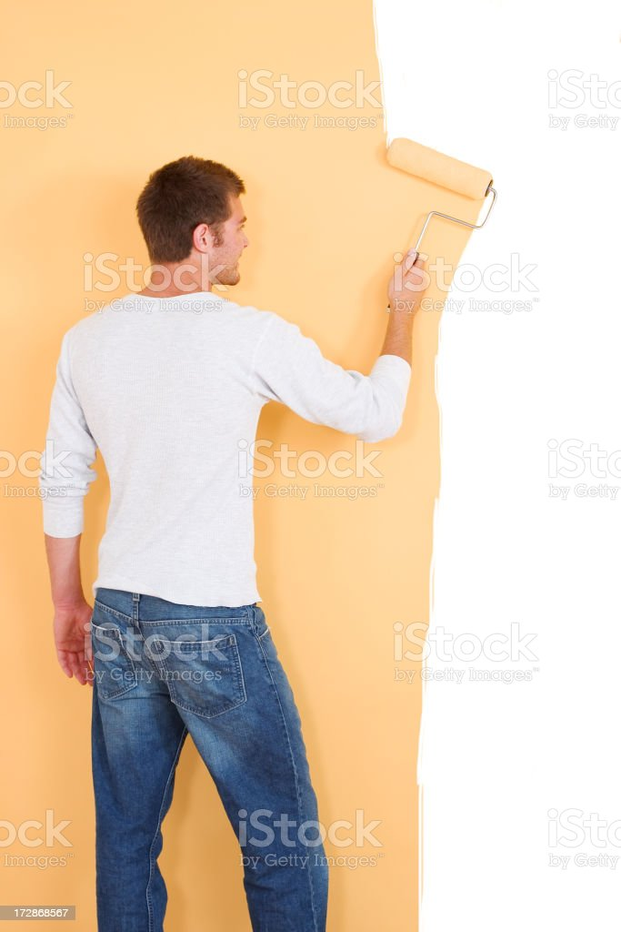 Painting a Yellow Wall royalty-free stock photo