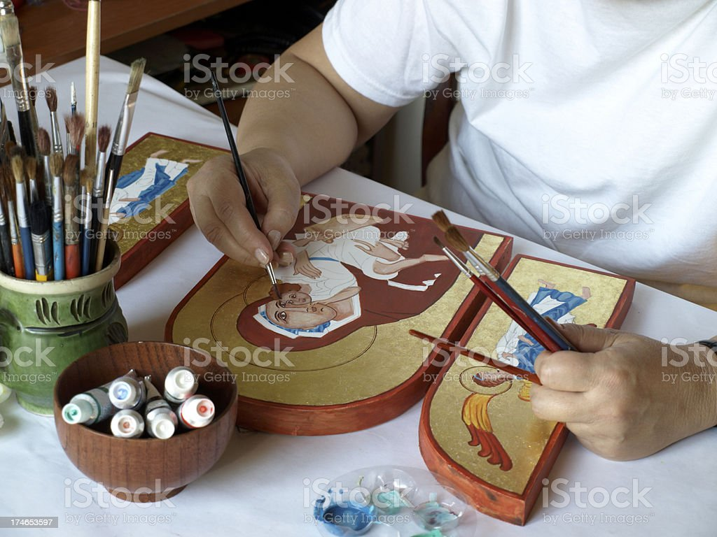 Malen Ikone im artist's studio Suite Lizenzfreies stock-foto