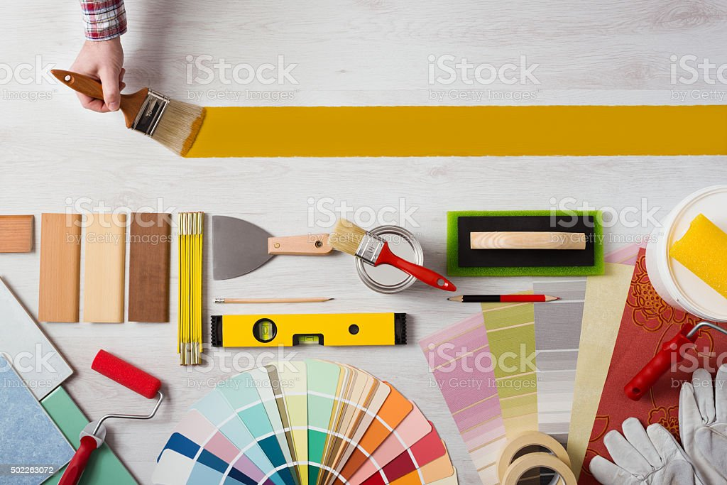 Painting and decorating DIY banner stock photo