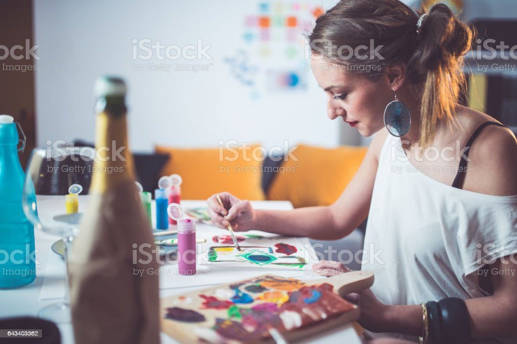 Painting and relaxing stock photo
