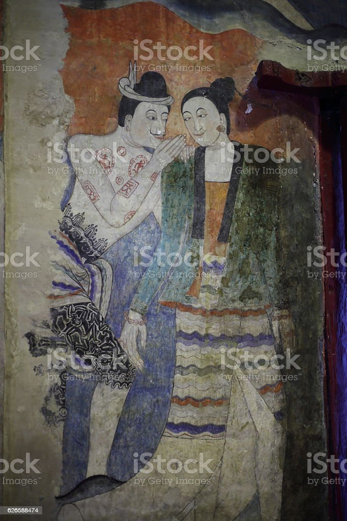 painting art on temple wall at NAN,Thailand stock photo