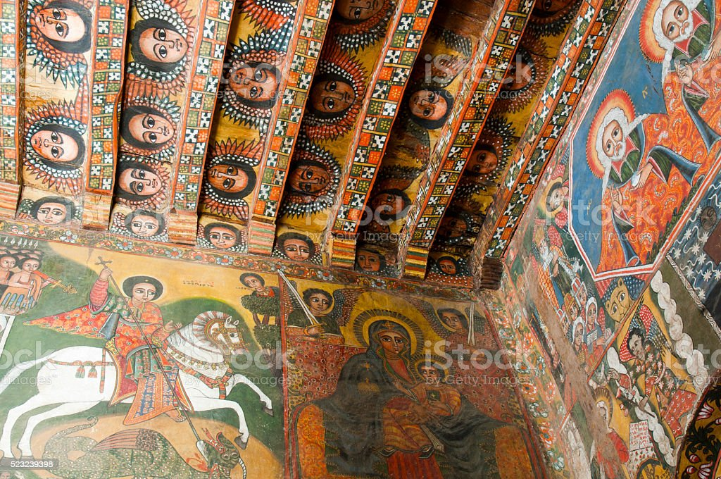 Painting at Debre Barhan Selassi Church Ethiopia stock photo