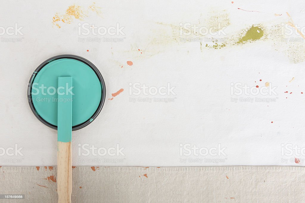 Painting Background with Paint Can Lid stock photo