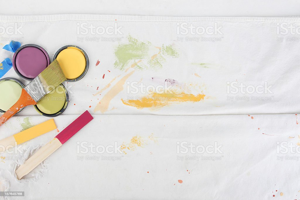 Painting Background with Paint Can Lids royalty-free stock photo