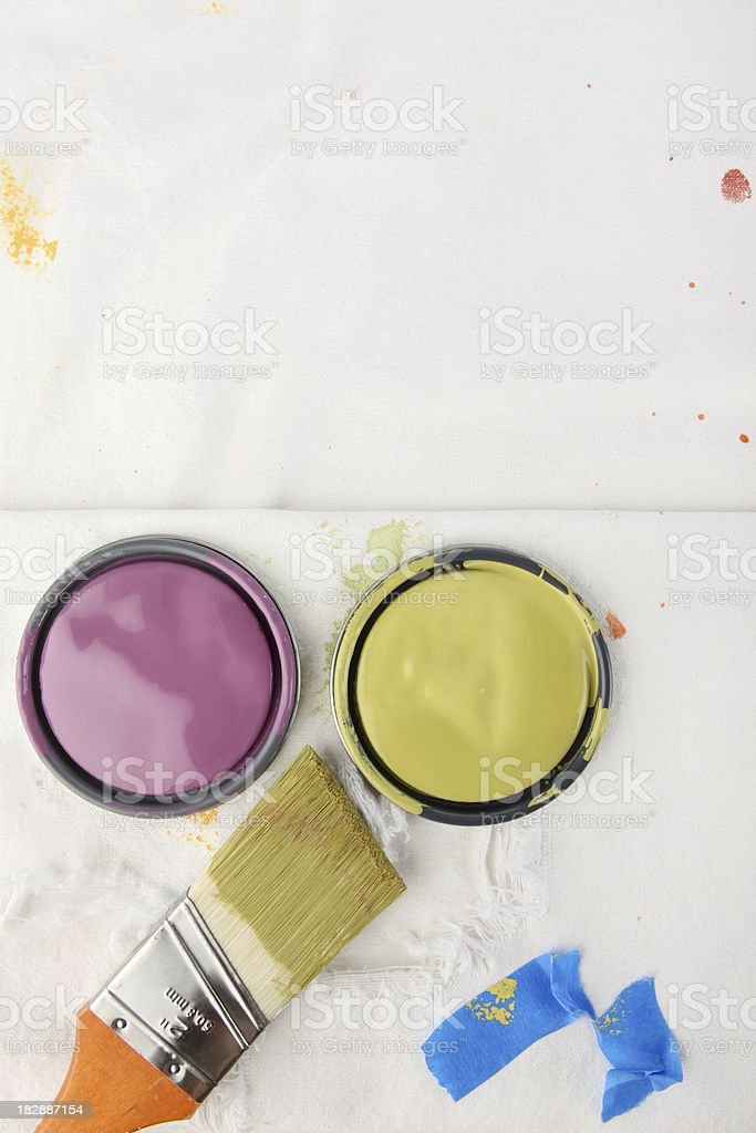 Painting Background with Paint Can Lids stock photo