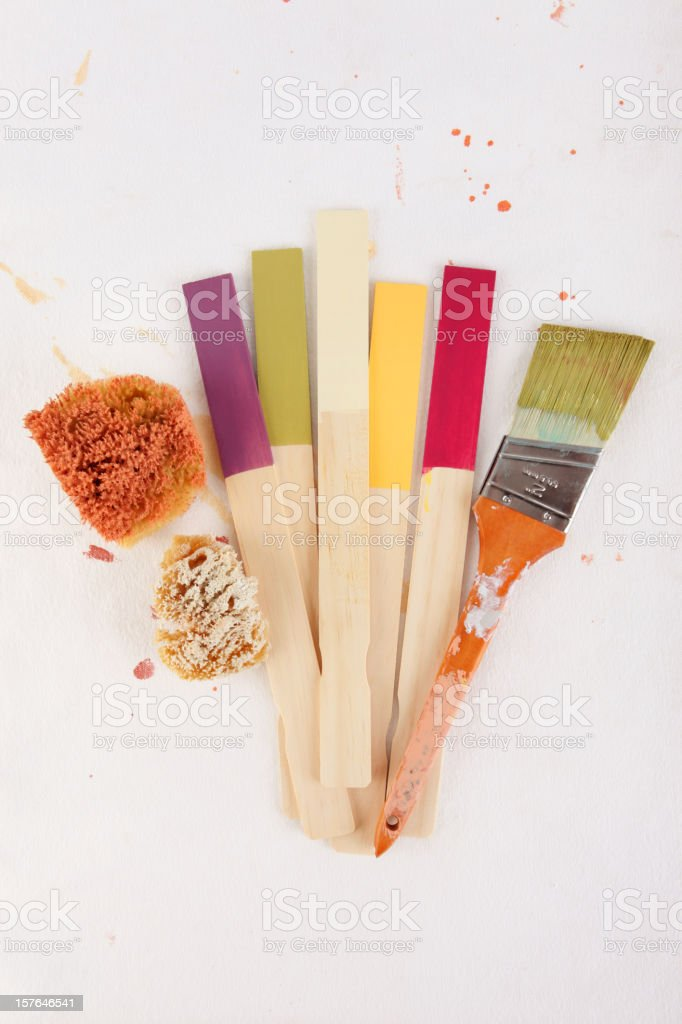 Painting Background with Paintbrush and Swatches stock photo