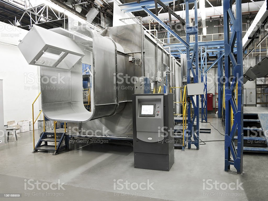 Painting booth at a factory royalty-free stock photo