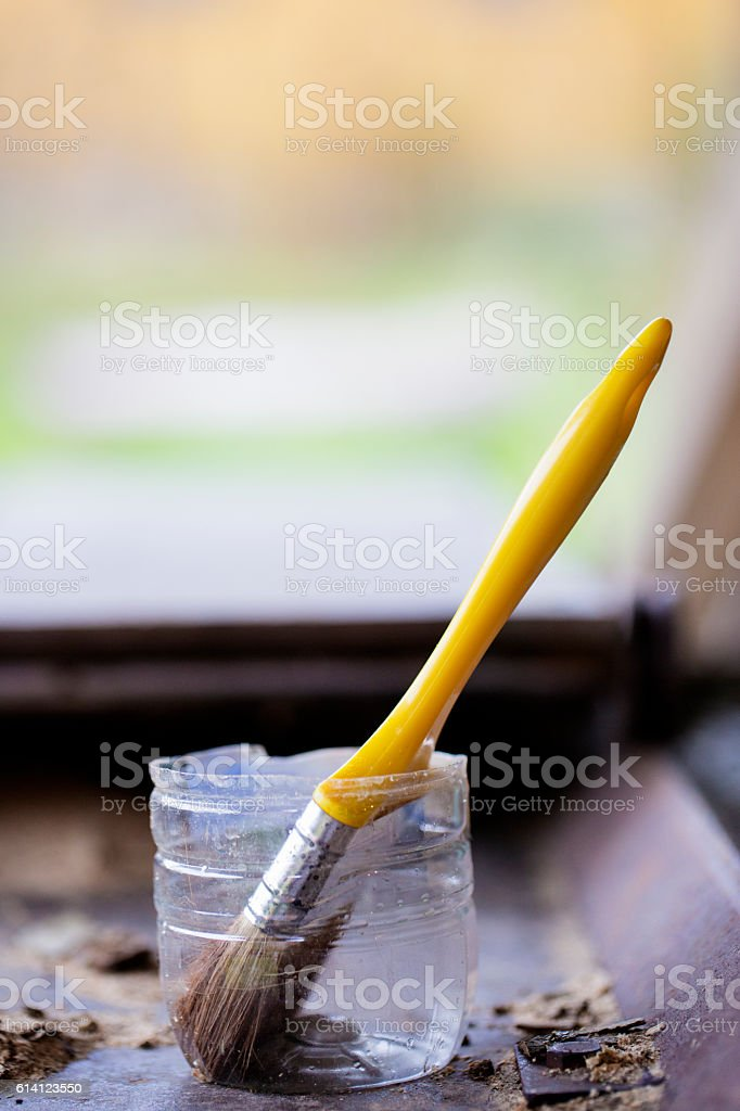 Painting brush in a cup vector art illustration