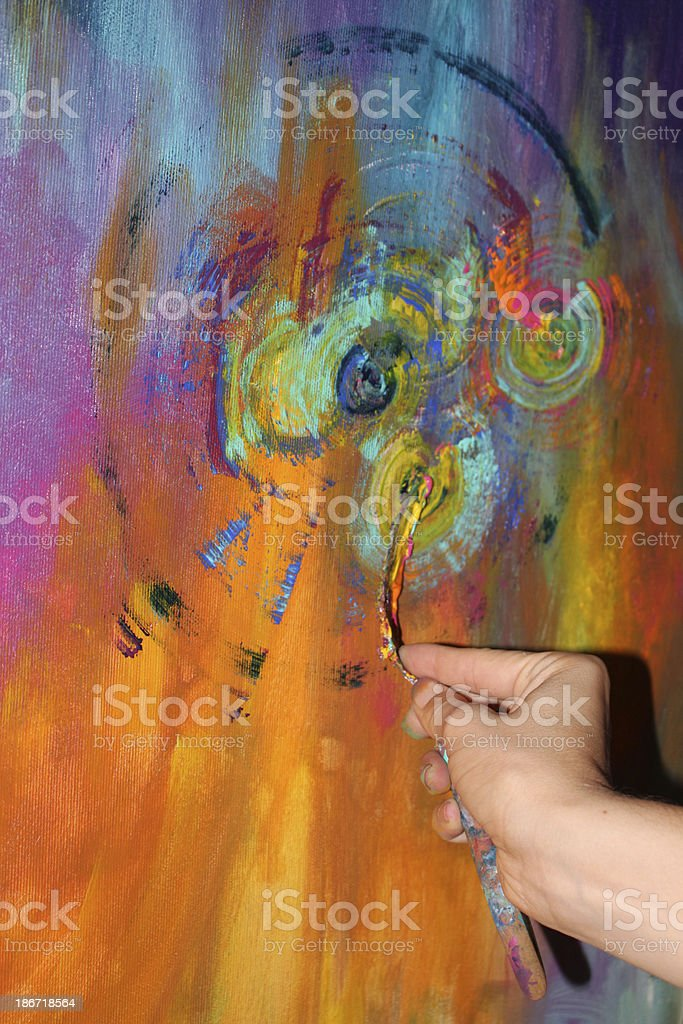 Painting detail in Acrylic royalty-free stock photo