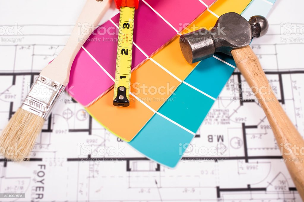 Various construction, home improvement, painting equipment lies on...