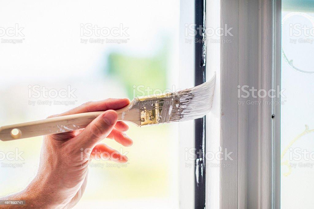 DIY: Painting Door Frame stock photo