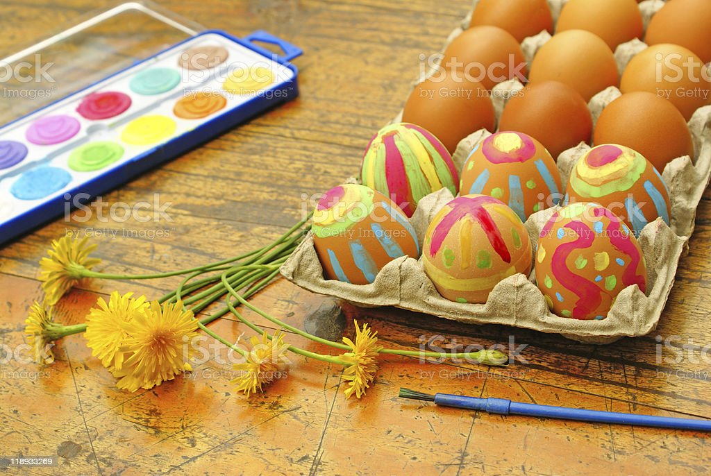 Painting Easter eggs royalty-free stock photo