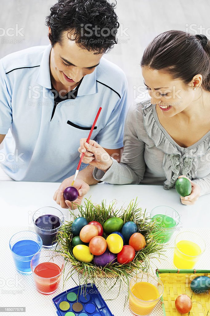 Painting Easter eggs. royalty-free stock photo