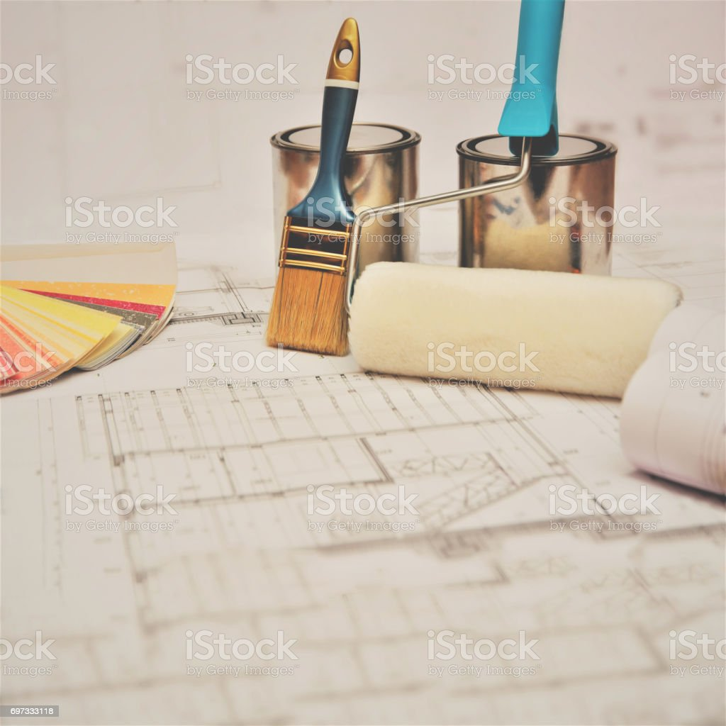 Painting equipment with floor plans stock photo