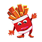 Painting french fries man character
