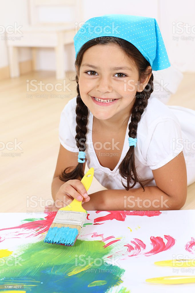 painting girl royalty-free stock photo