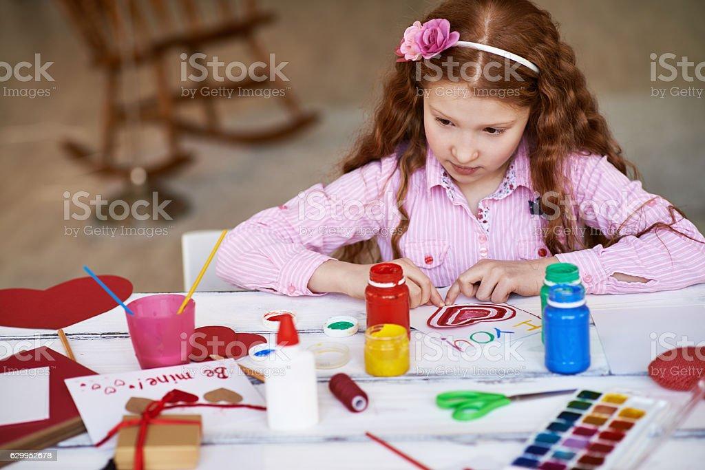 Painting girl stock photo