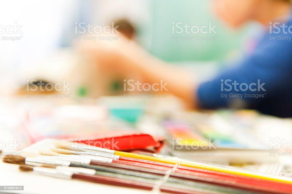 Painting girls stock photo
