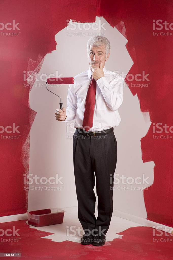 Painting Himself Into A Corner stock photo